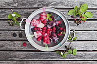 Tin plate of homemade lemonade ice lollies with raspberries and blackberries - GWF04996