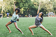 Two young women doing yoga exercise in a park - GIOF01987