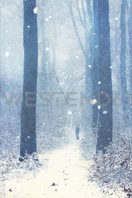 Germany, Wuppertal, man in winter forest, textured photography - DWIF00833