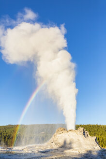 USA, Wyoming, Yellowstone National Park, Upper Geyser Basin, Castle Geyser erupting - FOF08903