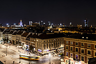 Poland, Warsaw, old town and new town at night - CSTF01272