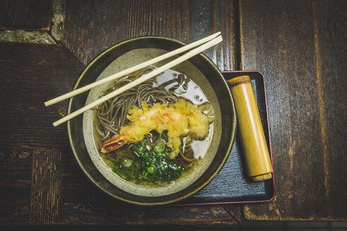 Japan, Kyoto, Arashiyama, tempura noodle soup - KEBF00506