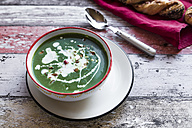 Bowl of spinach soup with chilipods and almonds - SARF03213