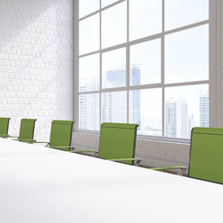 Empty conference room with view at skyscrapers, 3D Rendering - UWF01133