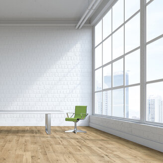 Single swivel chair in an empty loft, 3D Rendering - UWF01136