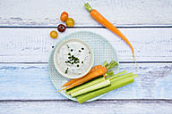 Bowl of herb yoghurt dip and vegetable sticks on plate - LVF05921