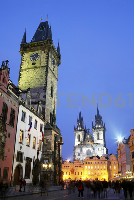 Czechia, Prague, Old Town Square with Town Hall and Church of Our Lady Before Tyn at dusk - DSGF01499