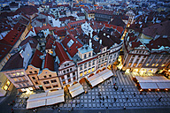 Czechia, Prague, cityscape with Old Town Square at dusk - DSGF01508
