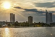 Latvia, Riga, view above Daugava River to Z-Towers and Saules Akmens skyscrapers - CSTF01316