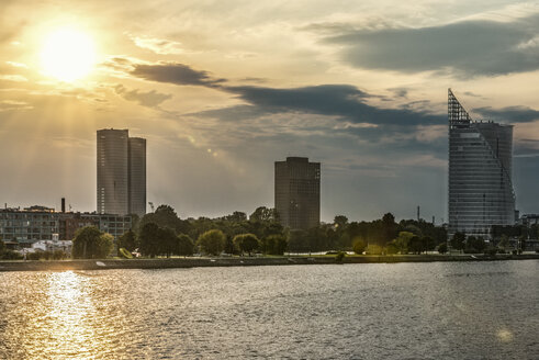 Latvia, Riga, view above Daugava River to Z-Towers and Saules Akmens skyscrapers - CSTF01316