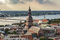 Latvia, Riga, cityscape with cathedral, castle and Vansu Bridge - CSTF01328