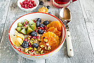 Superfood breakfast with porridge, amaranth, various fruits and pistachios - SARF03229