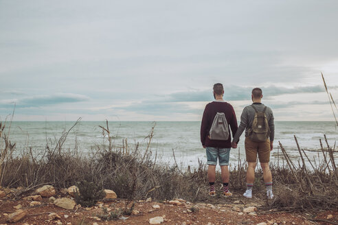 Back view of young gay couple  looking at the sea - RTBF00739