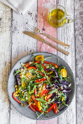 Plate of rainbow salad with bulgur, rocket and different vegetables - SARF03239