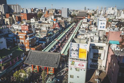 Japan, Tokyo, Asakusa, Senso-ji temple seen from above - KEB00512