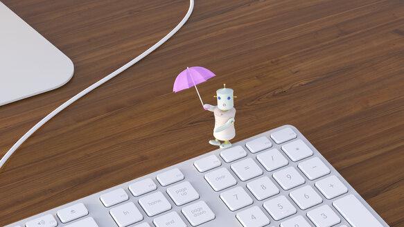 Female robot balancing on laptop, 3D rendering - UWF01138