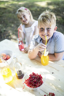 Sister and brother drinking homemade lemonade at garden table - WESTF22810