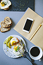 Having a food break while studying: eggs, avocado, bread and coffee - GIOF02161