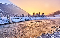 Germany, Bavaria, Vorderriss, Isar Valley in winter at sunset - MRF01706