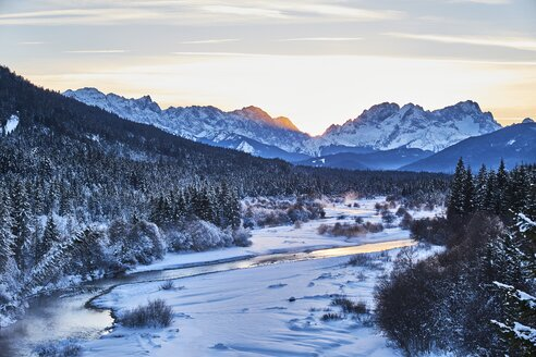 Germany, Bavaria, Vorderriss, Isar Valley in winter at sunset - MRF01709