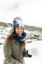 Portrait of a beautiful woman covered with snow - MGOF03052