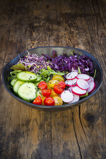 Lunch bowl of organic leaf salad, red cabbage, tomatoes, cucumber and radish sprouts - LVF05938