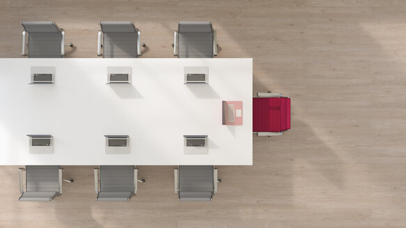 Conference room with one chair and laptop standing out from the crowd, 3d rendering - UWF01144
