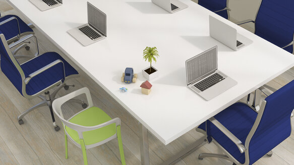 Conference table with laptops and family and vacation items, 3d rendering - UWF01147