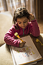 Little girl drawing numbers - JASF01565