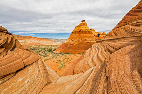 USA, Arizona, Page, Paria Canyon, Vermillion Cliffs Wilderness, Coyote Buttes, red stone pyramids and buttes - FOF09058