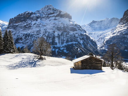 Switzerland, Canton of Bern, Grindelwald, winter landscape with ski hut and Mittelhorn - AMF05346