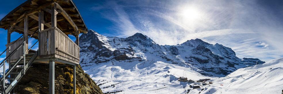 Switzerland, Canton of Bern, Grindelwald, Kleine Scheidegg, summit station and Eiger North Face - AMF05356