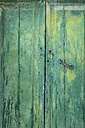 Old green wooden door, partial view - GWF05055