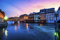 France, Strasbourg, La Petite France, with L'Ill river and half-timbered houses at twilight - PUF00598