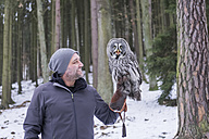 Czechia, Falconer holding great grey owl, Strix nebulosa in forest - PAF01768