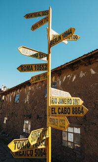 Peru, Titicaca lake, Taquile island, signpost with capital cities and distances - GEMF01550