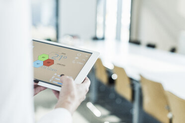 Businesswoman in conference room using tablet with weather data - UUF10303