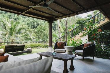 Indonesia, Bali, hotel garden lounge - JUBF00214