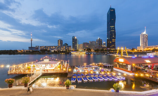 Austria, Vienna, Sunken City, Donau City, Danube River and DC Tower 1 in the evening - WDF03931