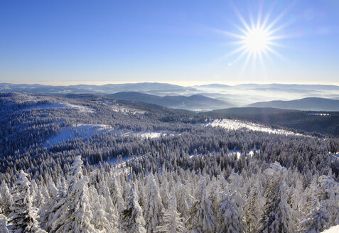 Germany, Bavaria, Bavarian Forest in winter, View from Great Arber southwest - SIEF07367