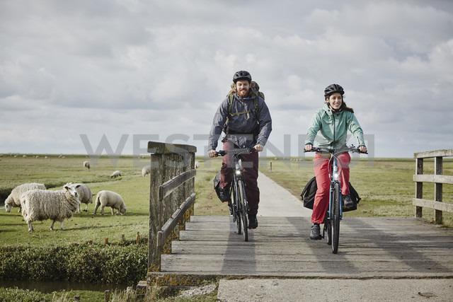 Germany, Schleswig-Holstein, Eiderstedt, couple on bicycles crossing bridge on path through salt marsh - RORF00750