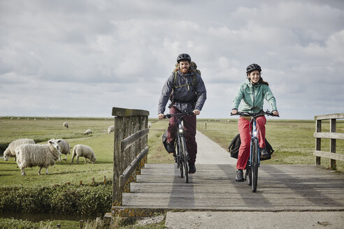 Germany, Schleswig-Holstein, Eiderstedt, couple on bicycles crossing bridge on path through salt marsh - RORF00750