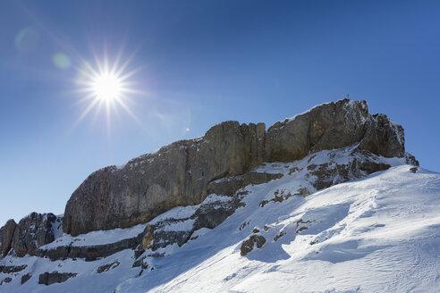 Austrai, Vorarlberg, Allgaeu Alps, Kleinwalsertal, Hoher Ifen in backlight - WIF03411