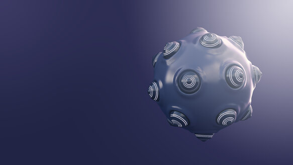 Spherical object with protrusions, 3d rendering - AHUF00317