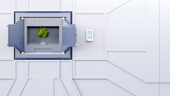 Open safe with tree in a wall, 3d rendering - AHUF00320