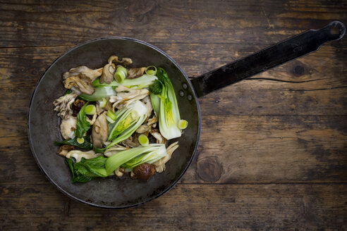 Stir-fry with Chinese cabbage, maitake, oyster and shitake mushrooms - LVF05996