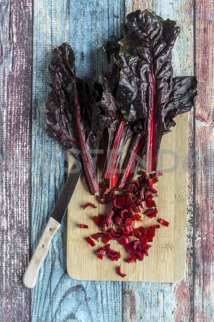 Chopped chard on wooden board - SARF03279