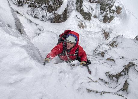 Scotland, Anoach Mor, Man ice climbing in winter - ALRF00893
