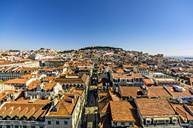Portugal, Lisbon, cityscape as seen from Elevador de Santa Justa with Castelo de Sao Jorge in background - THAF01929