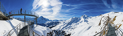 Switzerland, Canton of Bern, Grindelwald, view from First Cliff Walk on Eiger and mountainside of the Reeti - AM05362